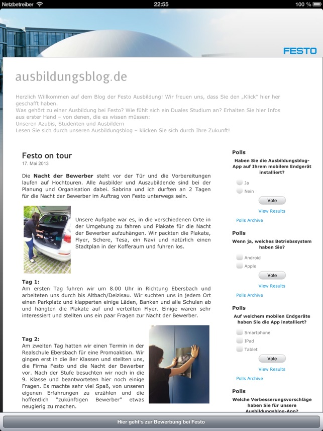 azubi blog im app store - Festo Bewerbung