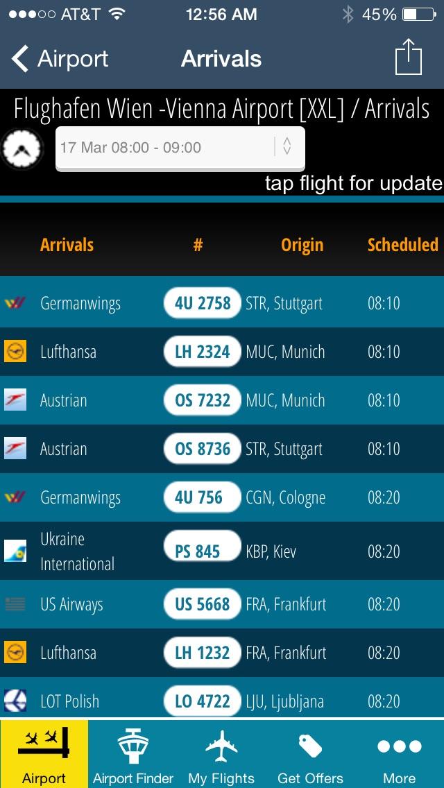 Vienna Airport + Flight Tracker Austrian VIE airlines