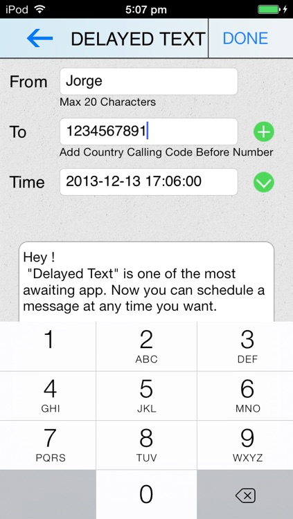 Delayed Text App
