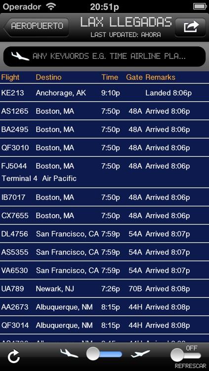 California Airport - iPlane2 Flight Information
