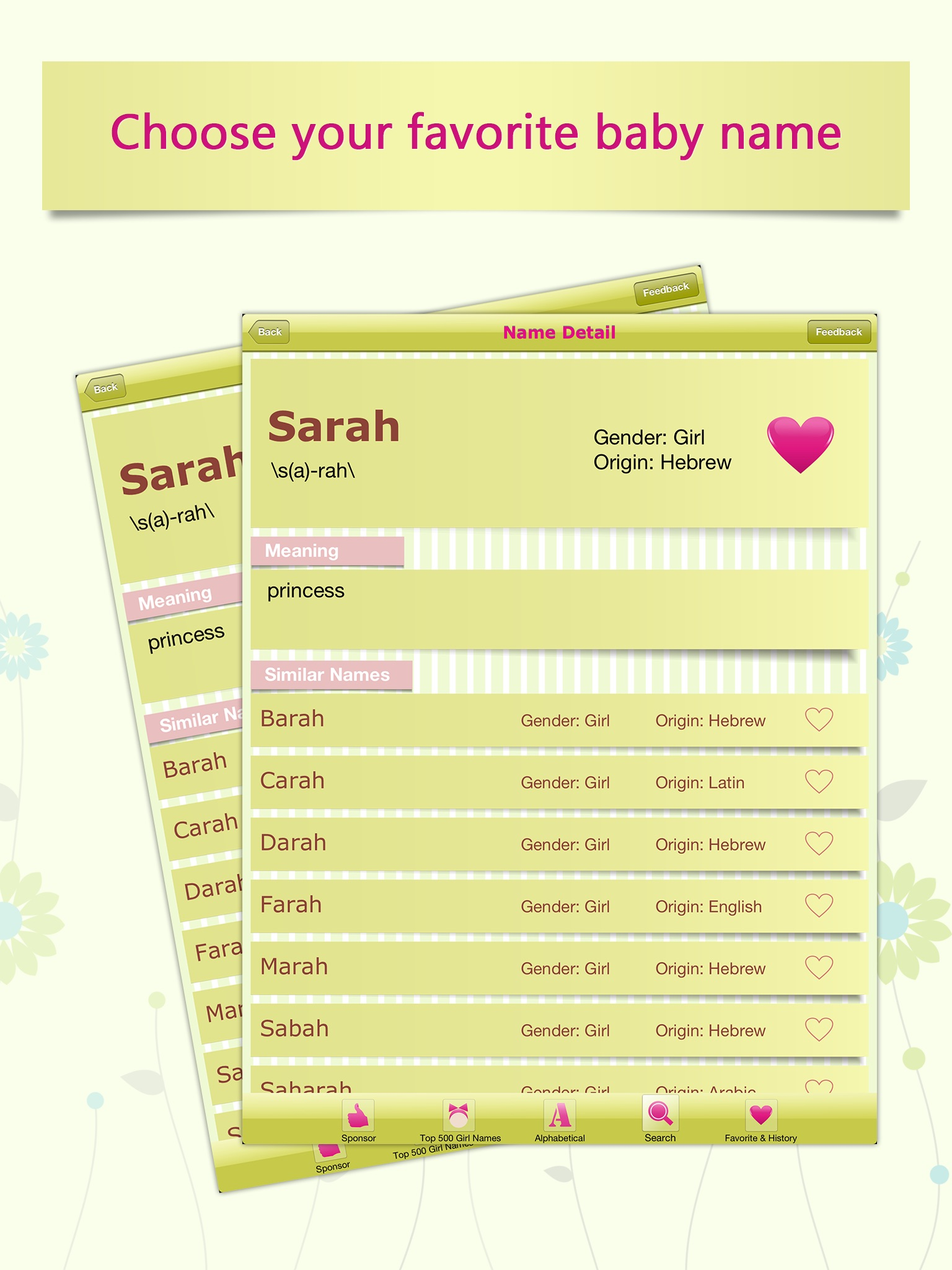 Baby Girl Name Assistant for iPad Screenshot
