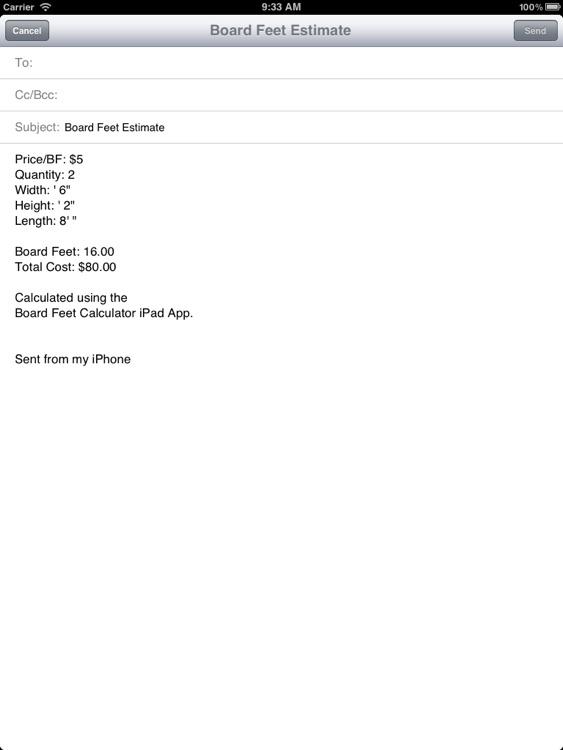 Board Feet Calculator for iPad