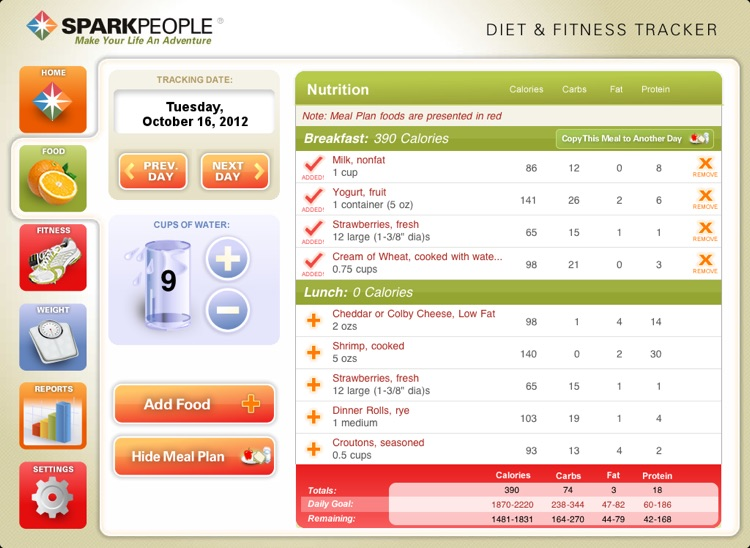 Diet & Fitness Tracker for iPad - SparkPeople screenshot-1