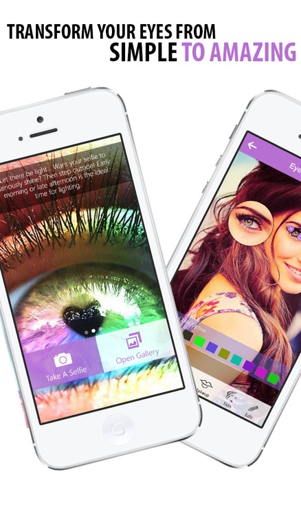 Selfie Eye Colour and Face Makeover - Change your color or add galaxy, wild cat and rainbow contact lenses then add lashes, liner and eyebrows