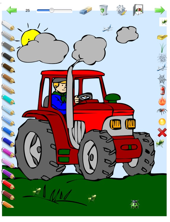Coloring Book for Boys for iPad with colored pencils - 36 drawings to color with dragons, pirates, cars, and more - HD