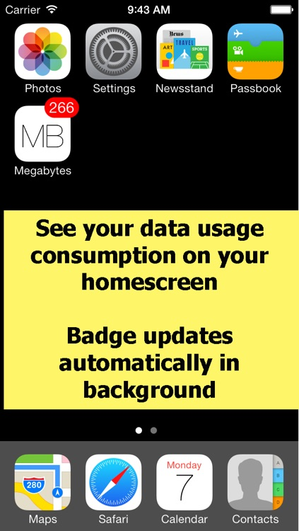 Megabytes - Cellular (3G/4G/LTE/GPRS/EDGE) data usage on your Home Screen / Lock screen / Notification Center & widget