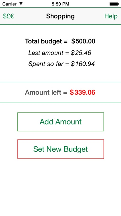 Shopping Budget Tracker