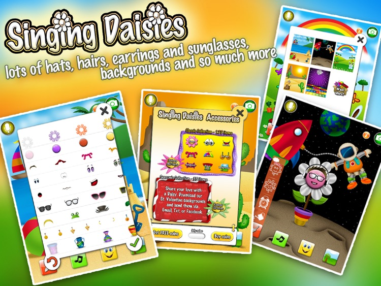 Singing Daisies - a dress up & make up games for kids screenshot-3