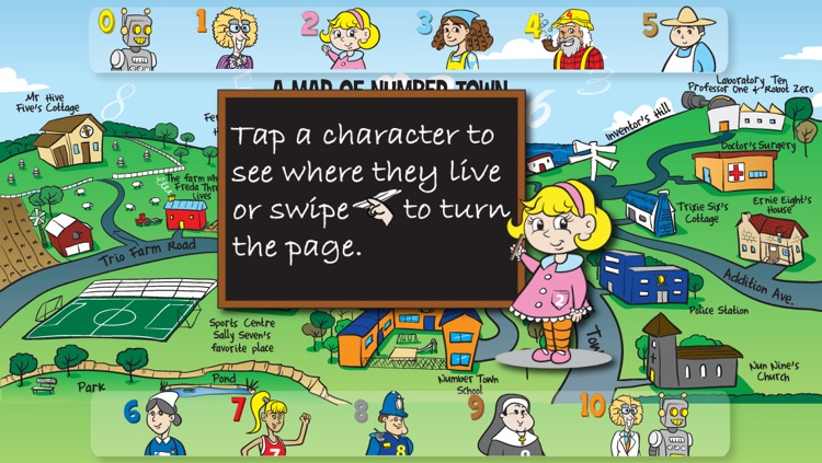 123 Shape Up Number Town - kids story book and fun tell time clock game.