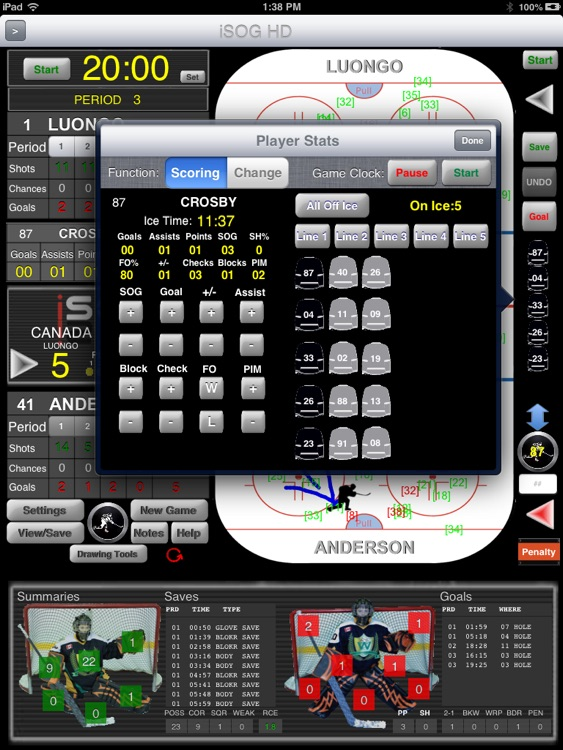 iSOG HD PRO Goalie & Player Stats Utility screenshot-3