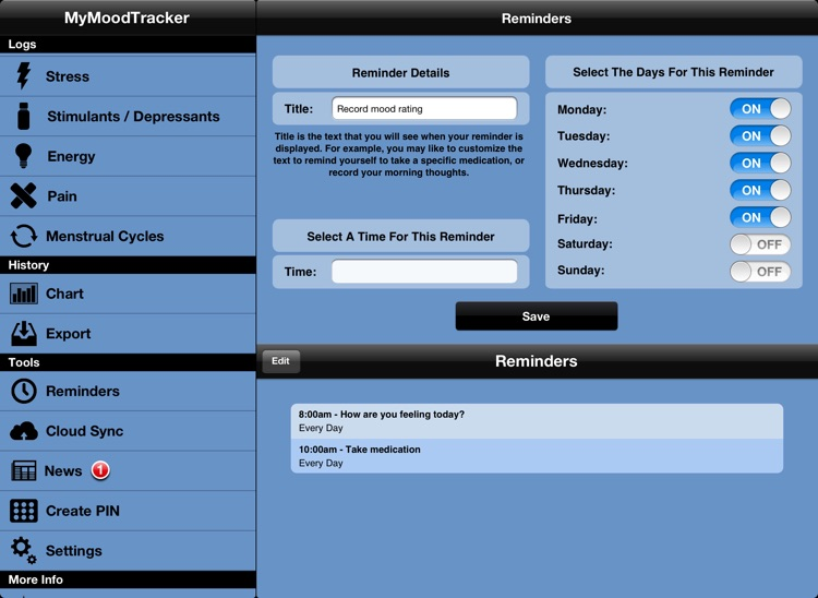 MyMoodTracker for iPad screenshot-3