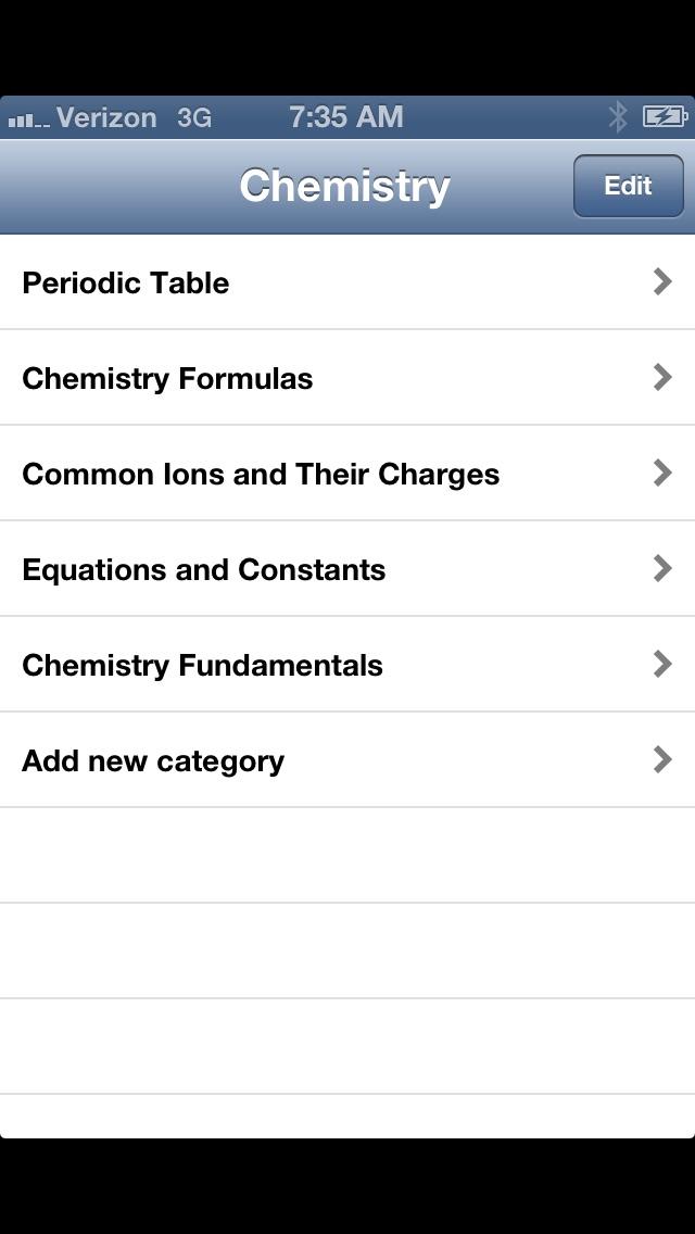 Chemistry Formulas screenshot one