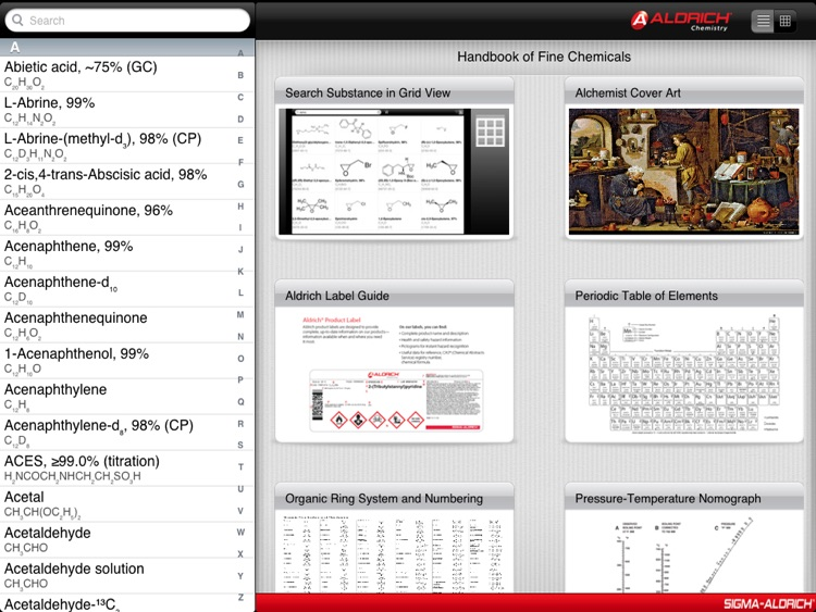 The Aldrich Handbook of Fine Chemicals for iPad