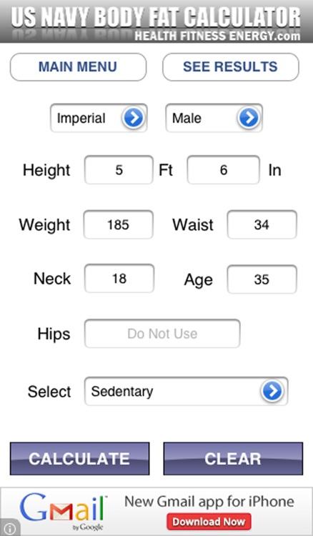 Body Fat Calculator - US Navy Edition