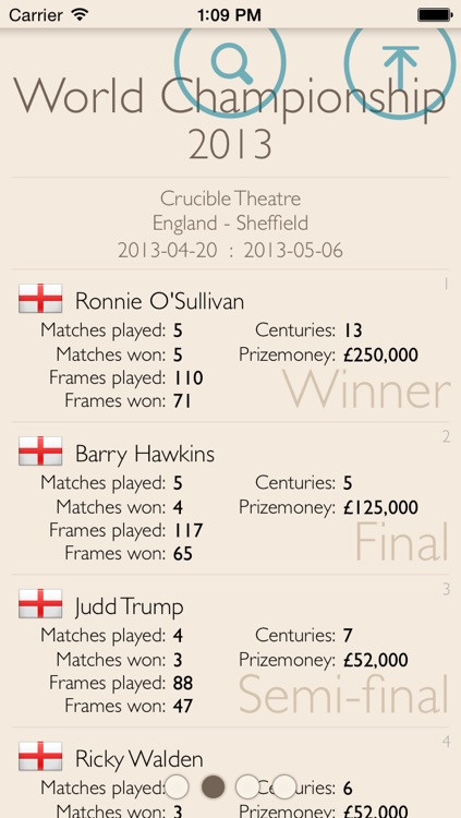 Snooker statistics - powered by CueTracker screenshot-3