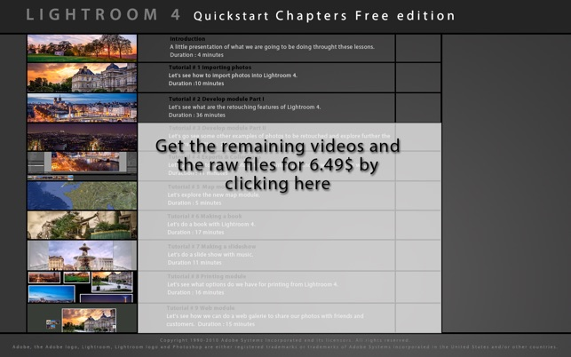 Learn Lightroom 4 Quickstart Free Edition Screenshot