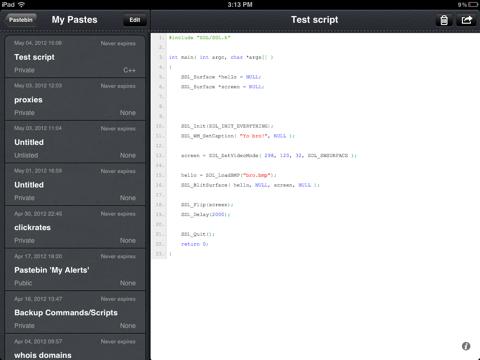 Pastebin iOS App