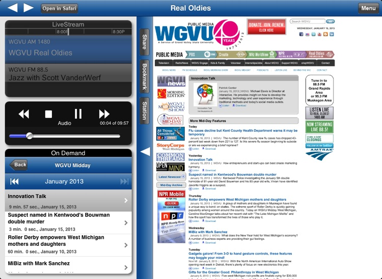 WGVU Real Oldies App for iPad