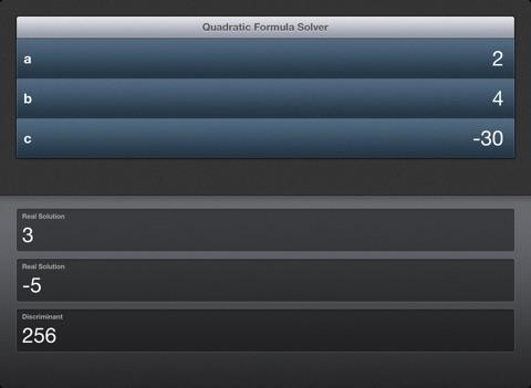 Quadratic Formula Solver iPad