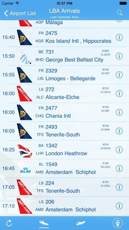 Leeds Bradford Airport - iPlane Flight Information