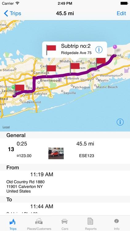 Travelreporter GPS milage log