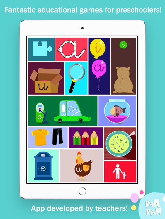 Learn to read and write the vowels in Spanish - Preschool learning games