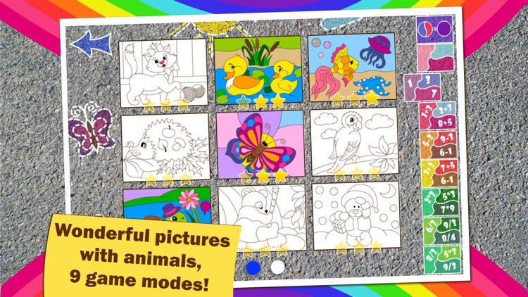 Colorful math «Animals» — Fun Coloring mathematics game for kids to training multiplication table, mental addition, subtraction and division skills! screenshot-3