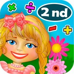 Math. Girl. Flowers. 2nd Grade