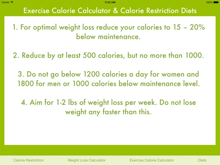 Exercise Calorie Calculator & Calorie Restriction Diets screenshot-3