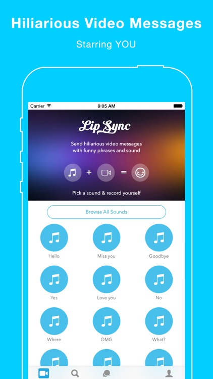 Lip Sync - Dub video selfies with your favorite sounds