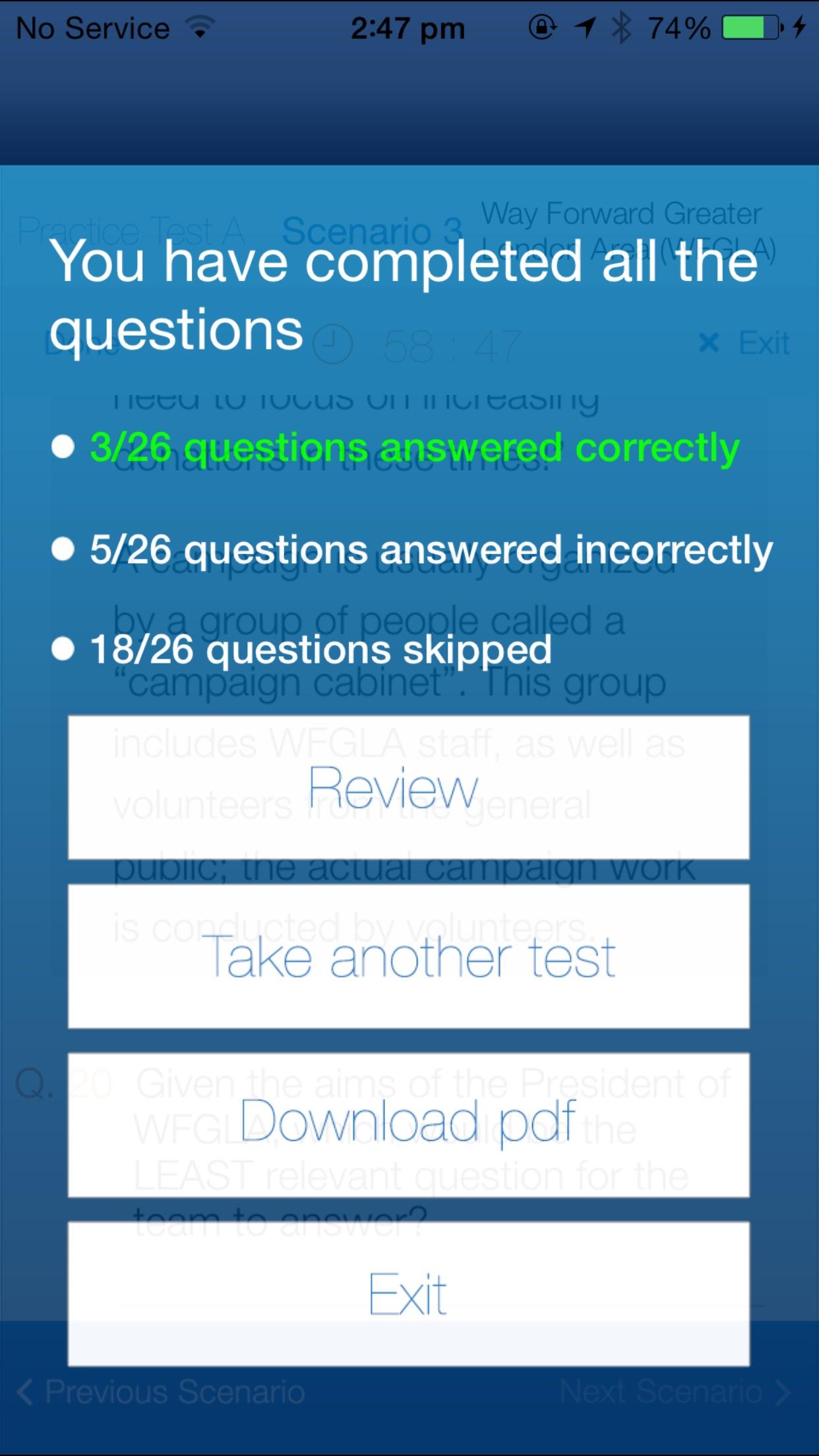 McKinsey Problem Solving Practice Test Screenshot