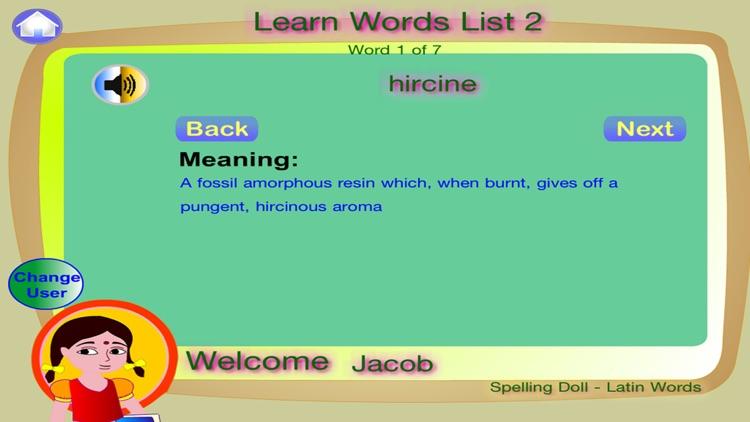 Spelling Doll English Words From Latin Vocabulary Quiz