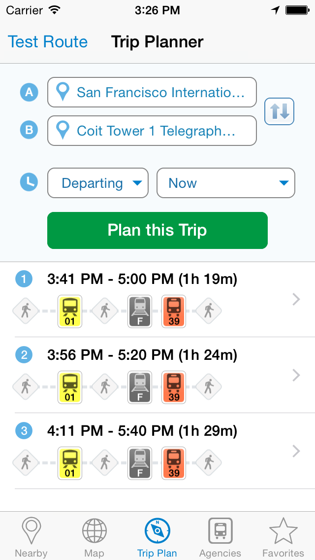 Smart Ride: Transit Directions, Real Time Predictions and Transportation Routes Screenshot