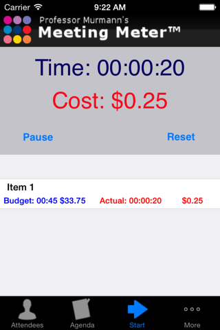 Screenshot of Meeting Meter Free