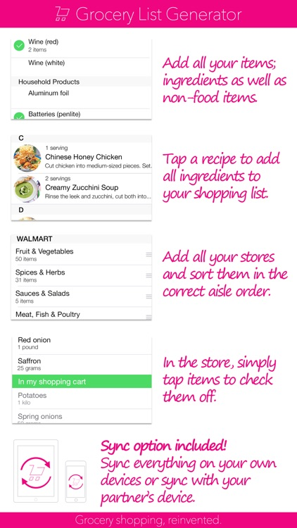 Grocery List Generator - Create shopping lists and store all your recipes. screenshot-0
