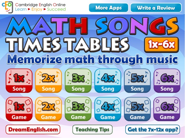 Math songs times tables 1x 6x hd on the app store for Table 6 song