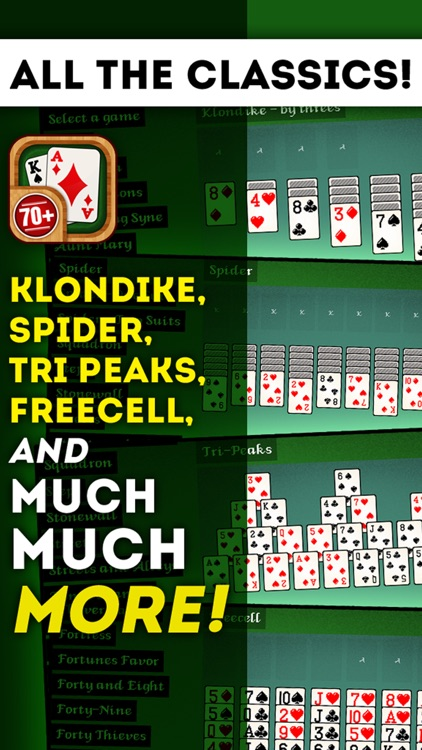 Solitaire 70+ Free Card Games in 1 Ultimate Classic Fun Pack : Spider, Klondike, FreeCell, Tri Peaks, Patience, and more for relaxing screenshot-1