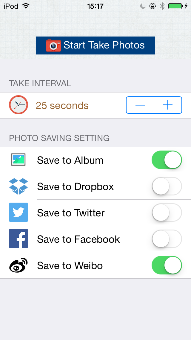 Monitor Eyes - Automatic Capture & Upload to Facebook, Dropbox,Twitter,Weibo screenshot two