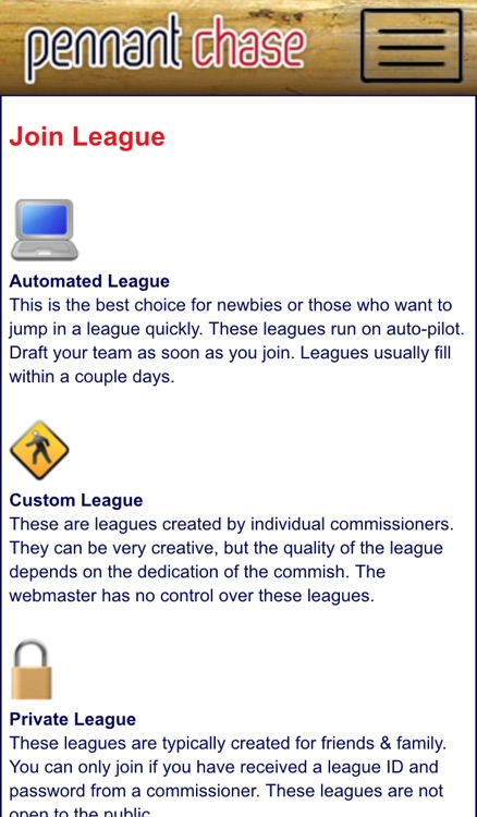 Fantasy Baseball Sim Leagues at PennantChase