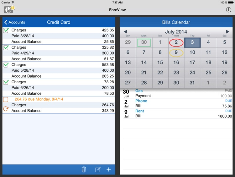 ForeView for iPad:To Do + Bills Tracker screenshot-3
