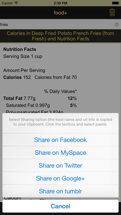 food+: Food & Calorie Information and Nutritional Content screenshot-4