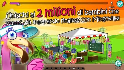 Screenshot of English for Kids – Mingoville School Edition include divertenti attività e giochi per l'apprendimento della lingua per bambini dai 6 ai 12 anni.1