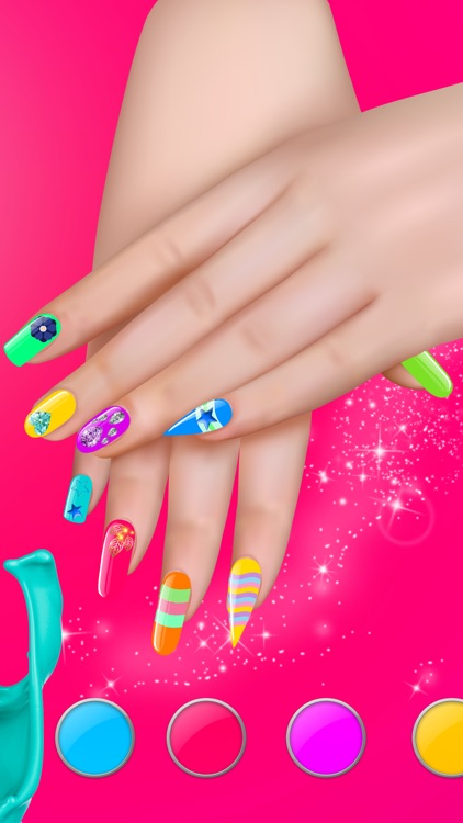 Manicure in Stylish Salon – Acrylic Nail Polish with Fancy Glow and Neon Design for Glamorous Girls
