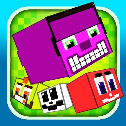 Funny Pixel Faces on Blocks Match 3 Puzzle Game