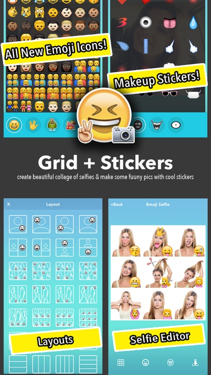 Emoji Selfie - 1000+ Emoticons & Face Makeup + Collage Maker screenshot-3