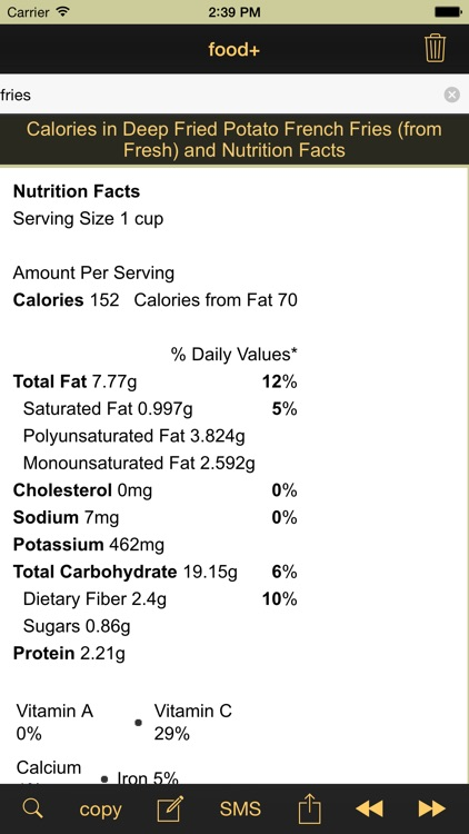 food+: Food & Calorie Information and Nutritional Content screenshot-2