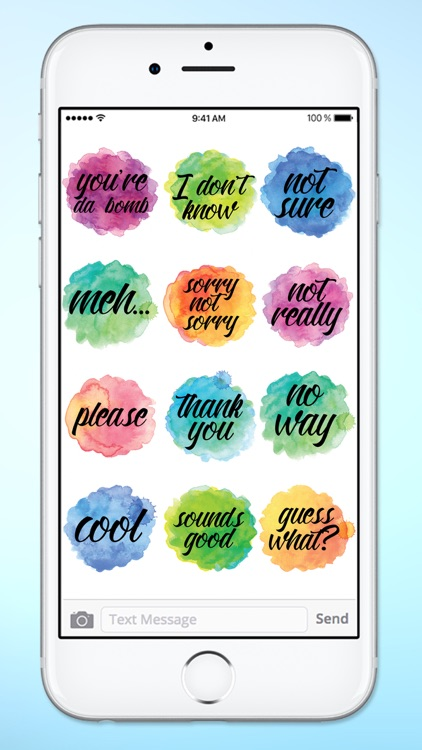 Watercolor Messages and Text Sticker Pack screenshot-3