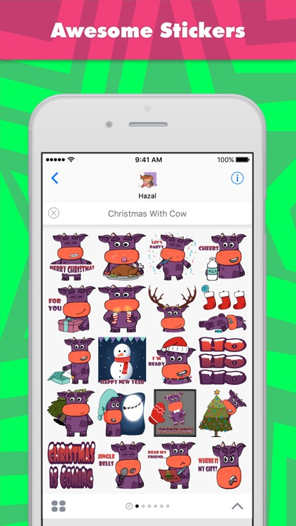 Christmas With Cow stickers by Hazal