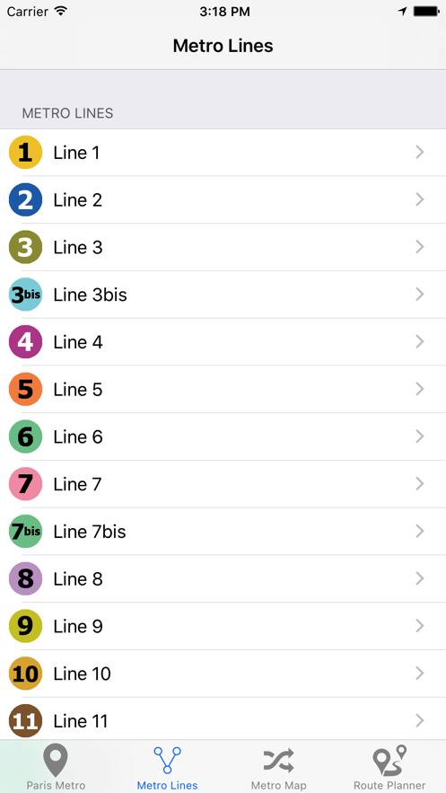 巴黎地铁地图 App 截图