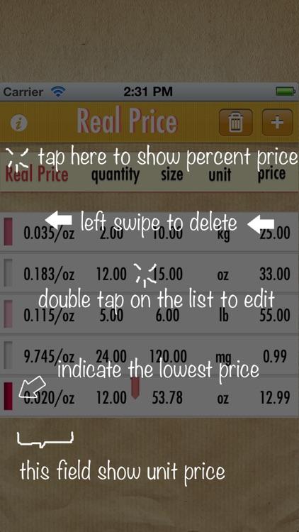 Real Price Lite ~ compare unit prices screenshot-4